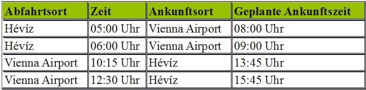 Flugplatz-Transfer Hévíz -Wien